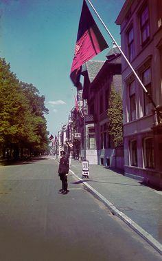 Een lid van de WA, de Weerbaarheidsafdeling van de NSB, op de Maliebaan in Utrecht