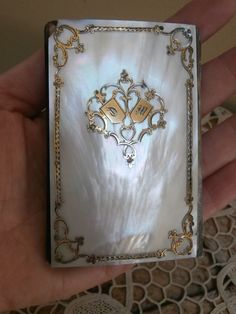 Antique French Mother Of Pearl & Silver Carnet De Bal~Calling/Dance Card Case #unknown