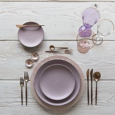 RENT: Lace Chargers in Blush Custom Heath Ceramics in Wildflower Moon Flatware in Brushed Rose Gold Chloe Gold Rimmed Stemware Chloe Gold Rimmed Goblet in Lilac Bella Gold Rimmed Stemware in Blush Pink Enamel Salt Cellars Tiny Copper Spoons Blush Pink, Lilac, Lavender, Purple, Vase Deco, Heath Ceramics, Copper Kitchen, Kitchen Supplies, Dinner Sets