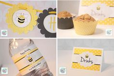 Bumblebee birthday party free printables. Includes birthday banner, water bottle labels, food cards and cupcake wrappers.