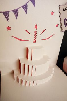 Carte Pop-up 3D Kirigami Gâteau d'anniversaire