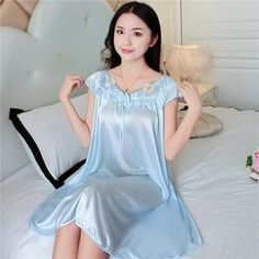 2018 NEW Summer Ice Silk Nightgown Female Home Service Loose Plus size Comfort Imitation Silk Sexy Pregnant Woman Nightdress Bridal Nightgown, Silk Nightgown, Bridal Robes, Satin Lingerie, Pretty Lingerie, Women Lingerie, Lingerie Drawer, Night Dress For Women, Dress Neck Designs