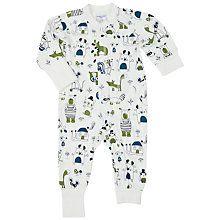 Buy Polarn O. Pyret Baby Animal Print Sleepsuit, White Online at johnlewis.com