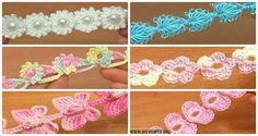 A collection of Crochet Cord Free Patterns: Flower Cord, Butterfly Cord, Heart Cord, bracelets, necklace or belts, or crochet along as drawstring closures.