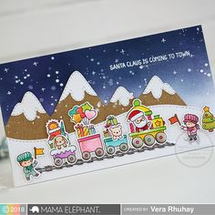 Today, I have a card for Mama Elephant Stamp Highlight featuring Little Agenda Trains . Here, I combined with Snow Capped M. Christmas Train, Kids Christmas, Handmade Christmas, Xmas, Winter Cards, Holiday Cards, Christmas Cards, Card Making Inspiration, Making Ideas