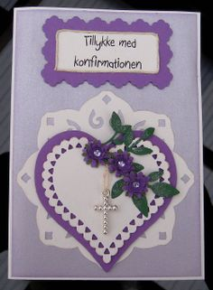 Konfirmations kort Confirmation Cards, Die Cut Cards, Rubber Stamping, Cool Cards, Christening, Crochet Earrings, Projects To Try, Feather, Scrap