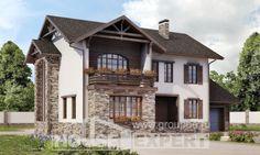 200-005-П Проект двухэтажного дома, гараж, уютный загородный дом из газосиликатных блоков