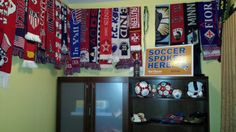 soccer room soccer scarf display/wall