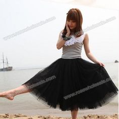 Wholesale Refreshing Elastic Waist Puff Five layers Voile Multicolor Skirts For Women (BLACK,FREE SIZE), Skirts - Rosewholesale.com