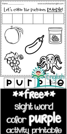 color worksheets for preschool and kindergarten. Color the grapes, eggplant, jam, octopus and plum purple. Cut the letter tiles and make the word purple and paste it. Color Worksheets For Preschool, Red Crayon, Picture Tiles, Blue Cups, Sight Word Activities, Word Free, Activity Sheets, Plum Purple, Sight Words