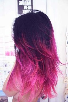 I am SO doing this when my hair starts growing out and fading! Oh! and when I can get extensions again ;) Ombre Pink 18 May 2012 Hair Color Ideas in Dark Brown Hair, Pink Hair ombre hair Just simply beautiful! Pink Ombre Hair, Hair Color Purple, Black Ombre, Pink Black, Pink Color, Pink Dye, Ombre Color, Violet Ombre, Magenta Hair