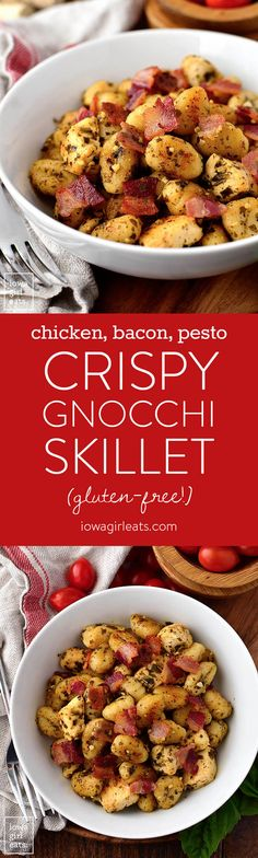 Crispy Chicken, Bacon and Pesto Gnocchi Skillet is a 20 minute gluten-free dinner recipe that's simple and satisfying. Made with just 5 ingredients and in 1 skillet, too! | iowagirleats.com