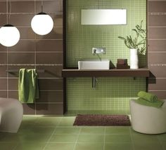 Green And Brown Bathroom More