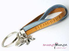 Schlüsselanhänger - Schlüsselanhänger Wunschtext Leder Art.130 maritim - ein Designerstück von munzipunza bei DaWanda