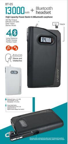AIYOVI BT-05 13000 MAH High Capacity Powerbank + 4.0 Bluetooth Earphone.  www.aiyovi.com