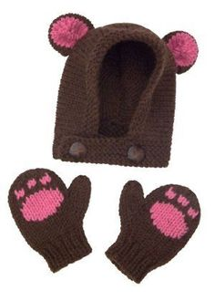 This darling hat and mittens set is the ultimate DIY baby Halloween costume. Baby's First Bear Costume features a darling hood with bear ears and cute little mittens adorned with a paw print motif.