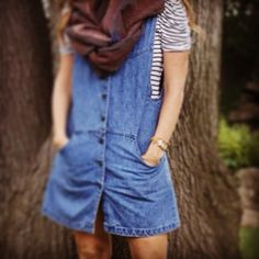 #Fall style: denim dress/ jumper! Perfect with stripes and scarf