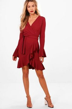 online shopping for Haz Frill Sleeve Tie Waist Ruffle Hem Tea Dress from top store. See new offer for Haz Frill Sleeve Tie Waist Ruffle Hem Tea Dress Western Chic, Dresses For Apple Shape, Party Dress Outfits, Frack, Dress Clothes For Women, Dress With Sneakers, Bodycon Fashion, Petite Outfits, Latest Dress