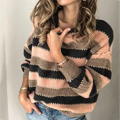 Load image into Gallery viewer, Autumn Striped Pullover Sweaters Ärmelloser Pullover, Pullover Sweaters, Women's Sweaters, Raglan, Casual Sweaters, Sweaters For Women, Striped Sweaters, Pull Rose, Pulls