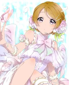 angel blush brown_hair dress koizumi_hanayo love_live!_school_idol_project purple_eyes short_hair wings