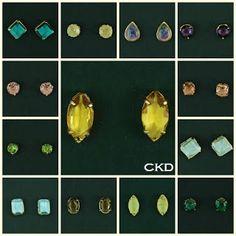 Brincos com cristais lapidados e pedras brasileiras!! www.ckdsemijoias.com.br