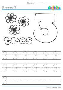 Ficha educativa: aprender el número 3. Descarga nuestras cartillas de ejercicios para aprender los números. Ficha coloreable, y con líneas para escribir.