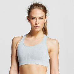 Women's Seamless Racer Back Sports Bra - Heather Gray L - C9 Champion