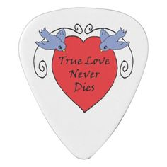 Tattoo Style Guitar Pick -- True Love Never Dies - heart gifts love hearts special diy