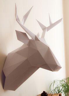 Papercraft unicorn head trophy faux taxidermy diy kit for Objet decoration design contemporain