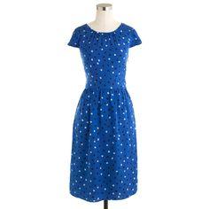 Euccute J.Crew Cap Sleeve Polka Dot Silk Dress