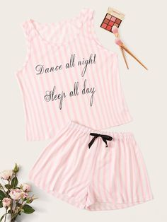 To find out about the Letter Print Striped Pajama Set at SHEIN, part of our latest Pajama Sets ready to shop online today! Loungewear Outfits, Pajama Outfits, Loungewear Set, Cute Outfits, Casual Outfits, Cute Pajamas, Girls Pajamas, Pajamas Women, Cute Sleepwear