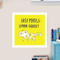 """Easy Peasy Lemon Squeezy Cat"" - cute cat covered in a lemon pattern, digital illustration | Art Print by GabiToma | Redbubble Cat Art Print, Easy Peasy, Digital Illustration, Funny Quotes, Lemon, Messages, Lettering, Art Prints, Cats"