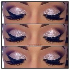 Stunning silver sparkled eyes with dark brown to nude on the upper lids - black liner & mascara finish off this make up look.x love this eye make up Skin Makeup, Beauty Makeup, Hair Beauty, Makeup Eyeshadow, Eyeshadows, Flawless Makeup, Makeup Art, Glamorous Makeup, Fairy Makeup