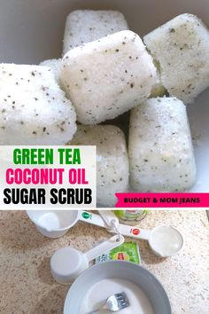 How cute are these green tea sugar scrub cubes? Instead of drinking my green tea, I decided to make a DIY sugar scrub with it. Coconut Oil Tea, Coconut Oil Sugar Scrub, Sugar Scrub Cubes, Sugar Scrub Homemade, Sugar Scrub Recipe, Diy Body Scrub, Diy Scrub, Zucker Schrubben Diy, Natural Beauty Recipes