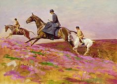 Cecil Charles Windsor Aldin (1870-1935):   Lady Currie with Her Sons Bill and Hamish Hunting on Exmoor