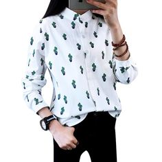 Women Fashion Blouses Long Sleeved Sweet Cute Shirts Cactus Printed Stand Collar Casual Leisure Tops Plus Size Blusas