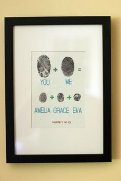 You + me = fingerprint art. This is adorable! I like the idea. but not that now someone can get your fingerprint* Cute Crafts, Crafts To Do, Crafts For Kids, Arts And Crafts, Diy Crafts, Family Crafts, Toddler Crafts, Creative Crafts, Creative Mother's Day Gifts