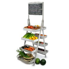 Display Tower with Chalkboard - Double Sided, this would be adorable for a potting rack. Also cute as a cute bathroom towel rack!