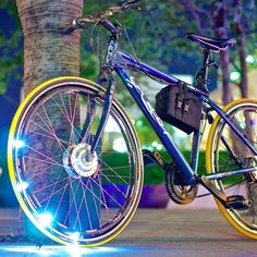 Bicycling is a lot of fun and has physical and financial benefits for commuters. But in a world filled with cars it be dangerous. Here are some cool gadgets for bikes that can help make riding a lot more safe. Gas Powered Bicycle, Electric Bicycle, Black Mustang, Motorized Bicycle, Bicycle Lights, Ice Climbing, Sports Gifts, Bicycle Accessories, Cycling Bikes