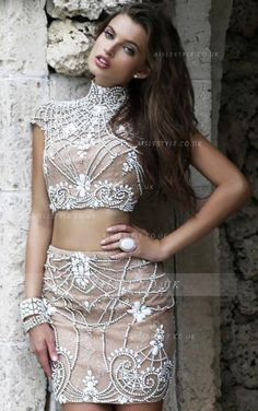 Two Piece High Neck Beads Pattern all over Column Short Sparkling Prom Dress _2