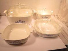 Vintage Corning Ware Blue Cornflower Casserole Dishes P 1 3/4B, P84B, P1B.    eBay #corningware #bluecornflower #kitchenstuff