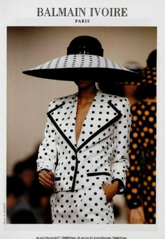 Balmain White with black polka dot 2 piece suit with matching hat.