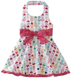 Carters Baby-Girls Infant Heart Print With Polka Dot Bow And Trim Sundress