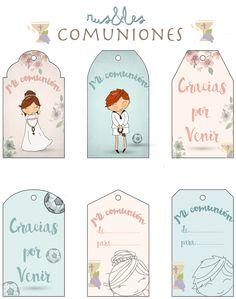 Etiquetas descargables, llenas de encanto de  rus&les para las comuniones.  Si quieres la tuya personalizada, no dejes de visitar su pági...
