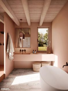 Add some warmth to your bathroom with earthy colour tones. Colour: Holy Terra WE Earthy Bathroom, Bathroom Colors, Bathroom Styling, Bathroom Interior Design, Kitchen Interior, Bathroom Ideas, Colorful Bathroom, Bathroom Pink, Interior Office