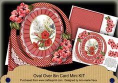 Red Hibiscous Mix Oval Over 3D Mini Card Kit