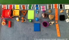 Montessori Color Box 3 Extension - matching color tiles to items in the environment. #sensorial @Amy Baker Montessori School (WMS)