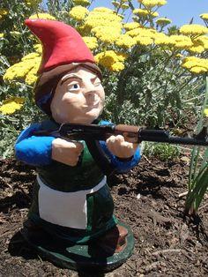 Garden Gnomes With Guns garden gun gnomes | gnomes, guns and gardens