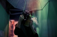 Mixed lighting // neonoir // reflections // smoking