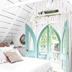 LAKE COTTAGE DREAMS: Beach House Decorating Ideas.  bedroom.  home decor and interior decorating ideas.  these windows are amazing.
